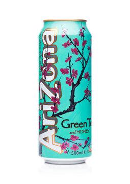 LONDON, UK - JANUARY 10, 2018: Aluminium can of Arizona Green tea soft drink on white