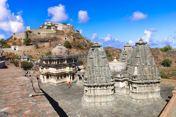 Castle and fortified walls of Kumbhalgarh Fort in Rajasthan state. India