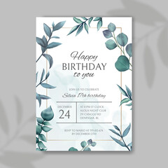 Birthday party invitation template with floral background