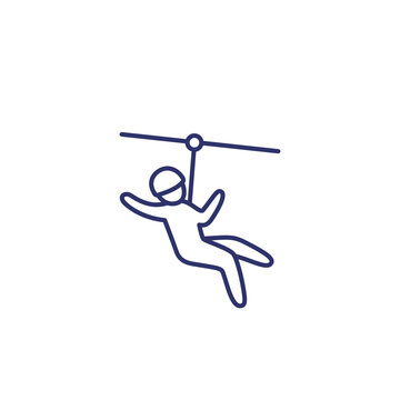 zip line icon on white, linear