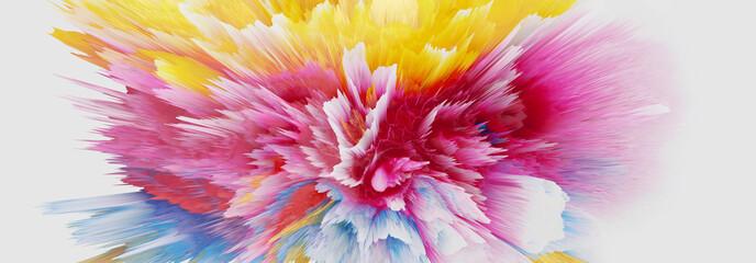 Digital Illustration. Color blot splash. Abstract horizontal background.