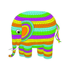 Bright colorful cute elephant pinata ready for the party