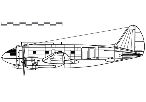 Curtiss-Wright C-46 Commando. Vector drawing of military transport aircraft. Side view. Image for illustration and infographics.