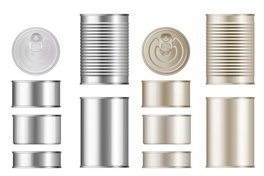 Tin can set. Isolated blank canned food metal container with lid mockup template collection. Vector realistic different size cylinder conserving ribbed tin can mock up design
