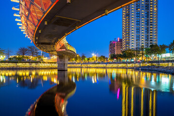 night view of kaohsiung by love river in taiwan