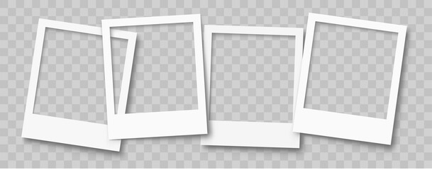Realistic empty photo frame mackup set. Old photo frame collection. Blank retro photo frames with shadows - stock vector