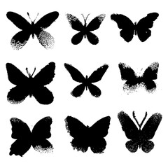 Fotorolgordijn Vlinders in Grunge Grunge butterflies silhouettes on white background. Vector set