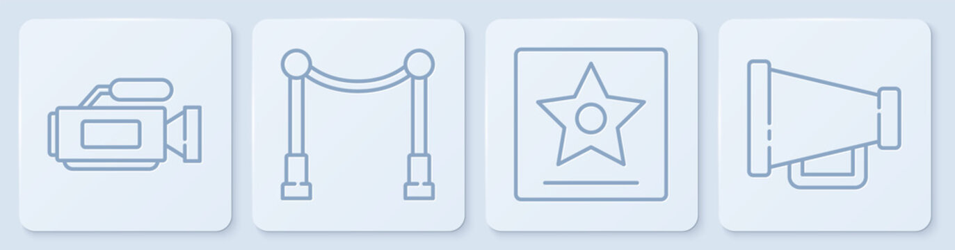 Set line Cinema camera, Hollywood walk of fame star, Carpet with barriers and Megaphone. White square button. Vector.