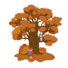 The fox is reading a book under a tree. Autumn mood. Vector graphics.