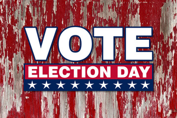 america vote election day graphic with white text and stars red box with faded red wood