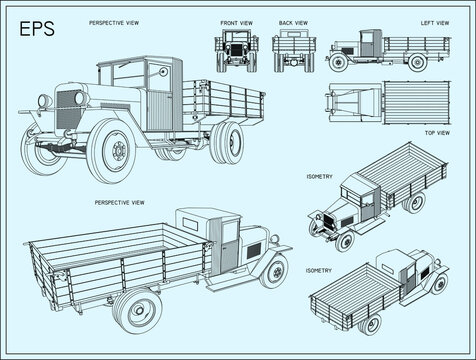 The main transport vehicle of the Red Army. Three-ton Soviet truck. Plant named after Stalin. ZIS-5. Vector EPS8