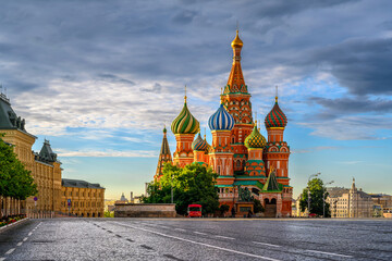 Saint Basil's Cathedral and Red Square in Moscow, Russia. Architecture and landmarks of Moscow. Cityscape of Moscow