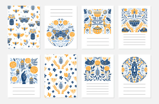 Greeting cards in Scandinavian, Nordic and Folk art style
