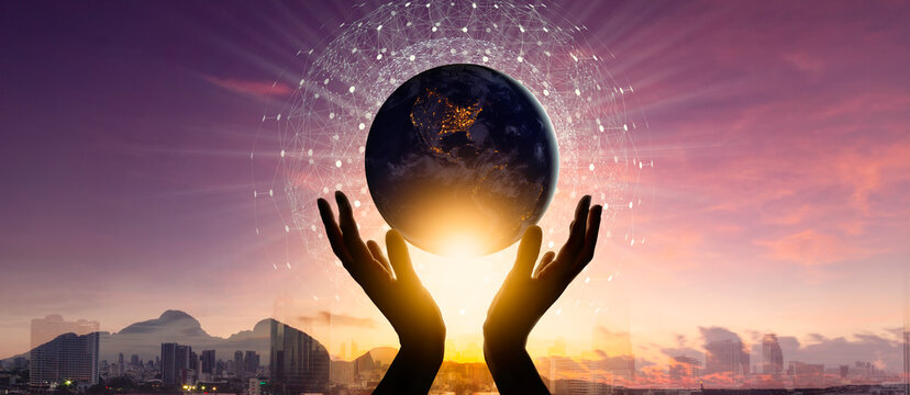 Woman hands holding earth with circle global network connection and data exchanges worldwide exposure on city and mountain sunset background.Elements of this image furnished by NASA