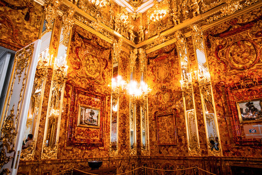 ST.PETERSBURG, RUSSIA - JUNE 24, 2017: Interior of Catherine Palace, Amber room  in St.Petersburg, Russia. The former imperial palace. Building is laid in 1717 on orders of Catherine I. Now a museum