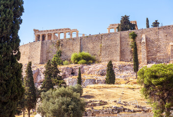 Fototapete - Acropolis with old fortress walls, Athens, Greece