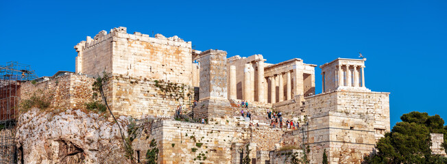 Fototapete - Acropolis of Athens in summer, Greece. Panoramic view of ancient Propylaea, famous entrance gate of Acropolis