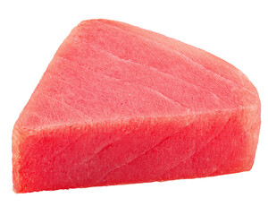 raw tuna steak, fish isolated on white background, clipping path, full depth of field
