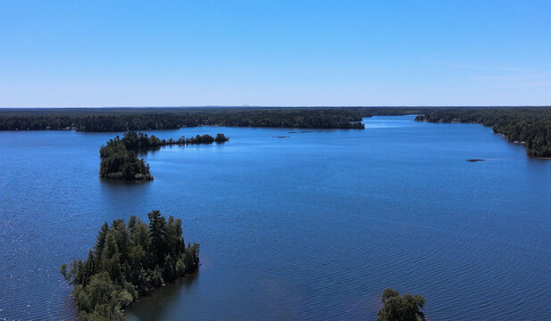 Northwoods Lake with Islands from aloft