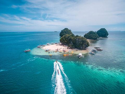 Aerial view of Boslon Island, Salvacion, Surigao del Sur, Philippines