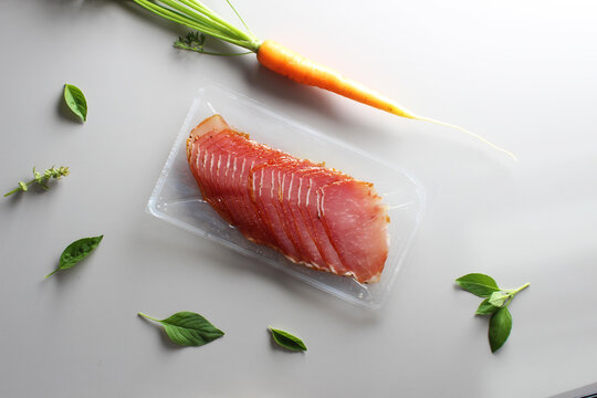 balyk slicing in packaging slice mockup on the table