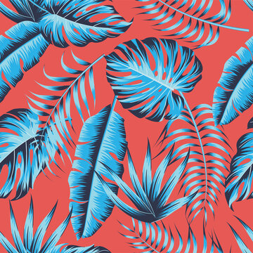 Tropical leaves, jungle leaves seamless floral pattern background