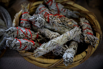 Traditional Native American Indian ritual white sage smudge sticks for sale at a powwow, San Francisco