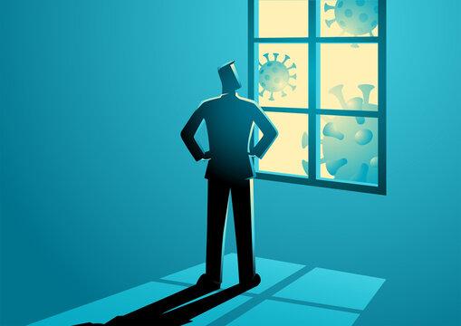 Man figure looking through the window
