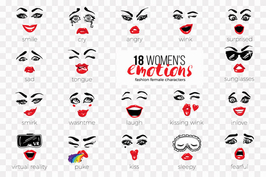 Woman's vector emoticons, emoji, smiley icons, characters: sleepy, kissing wink, fearful, inlove, surprised, sunglasses, kiss, laugh, angry, puke, tongue, cry, virtual reality, smirk, sad, smile