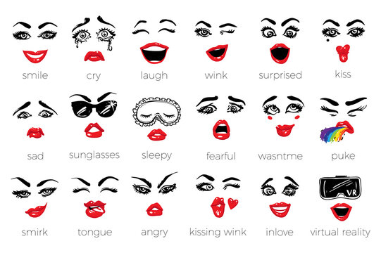 Woman vector emoticons, emoji, smile, characters: sleepy, kissing wink, wink, fearful, inlove, wow, sunglasses, kiss, laugh, angry, puke, wasn't me, tongue, cry, virtual reality, smirk, sad, smile