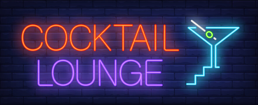 Cocktail lounge neon text, cocktail with olive and stairs. Bar advertisement design. Night bright neon sign, colorful billboard, light banner. illustration in neon style.