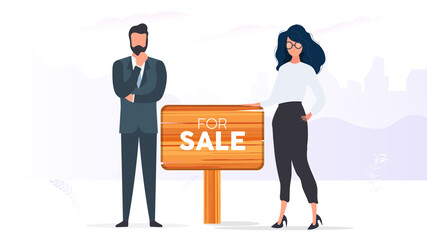 Realtors with a For Sale sign. The girl and the man are realtors. The concept of selling apartments, houses and real estate. Isolated. Vector.