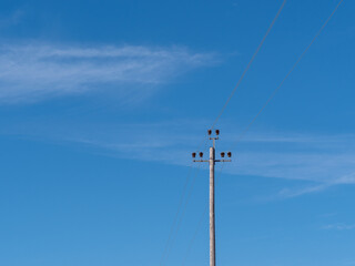 electric pole on a blue sky