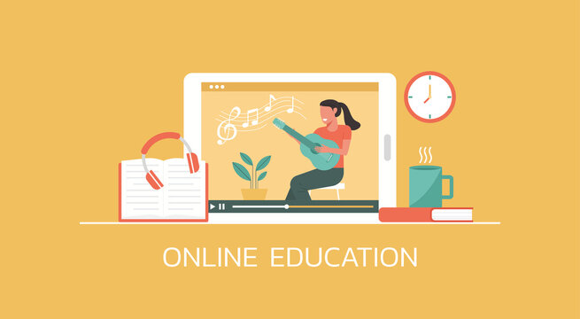 e-learning and online education concept, distance learning, woman playing guitar online via video website platform on digital tablet, vector flat illustration