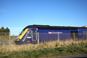 Llanelli, Wales, UK – December 4, 2016: A First Great Western railway train travelling on its way through the countryside in the south of Wales UK stock photo