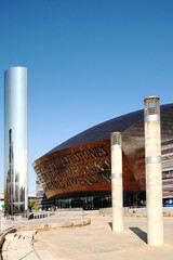 Cardiff, Wales, UK, September 14, 2016 :  The Wales Millennium Centre theatre and the Water Tower in Roald Dahl Plass Cardiff Bay popular travel destination visitor attraction landmark of the city