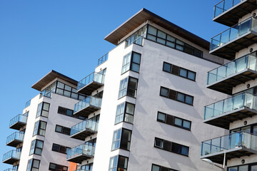 Swansea, Wales, UK – March 31, 2017:  New modern luxury flat apartment architecture building in Swansea Bay