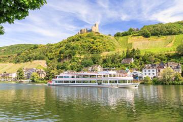 Bernkastel-Kues at the Mosel river with ruin Landshut