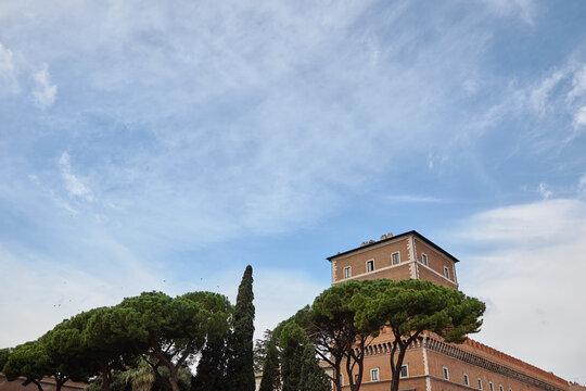 Palazzo Venezia and blue sky in Rome, Italy