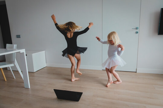 Ballet or gymastics lesson online. Remote learning for kids.