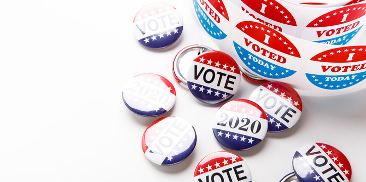 Vote election badge pins for 2020 on white background