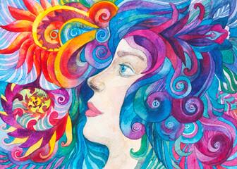 Dipinto bella donna eterea flora, acquerello disegno ragazza con occhi azzurri