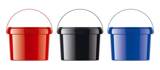 Set of Colored Plastic Bucket. Part 2/2.