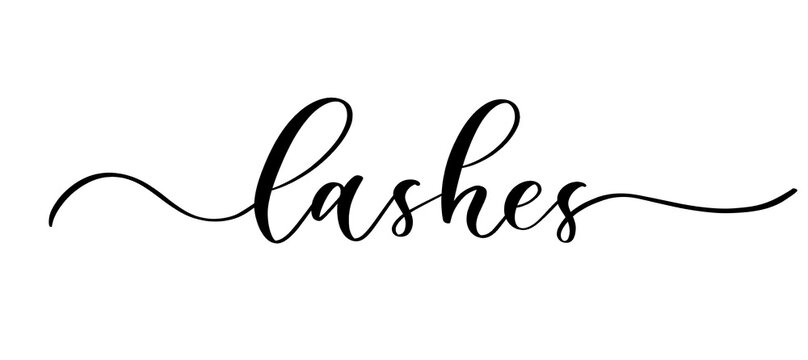Lashes - vector calligraphic inscription with smooth lines for the names and logos of firms,labels and design shops, beauty salons, hairdressers and your business.