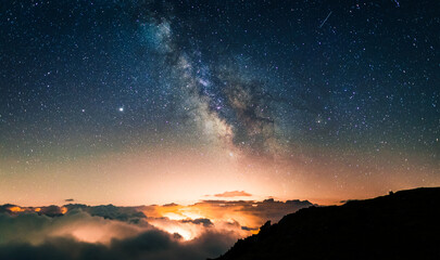 Starry sky above a sea of clouds with the lights of the cities and villages below producing orange light pollution. Night photography of long exposure landscapes with the Milky Way.