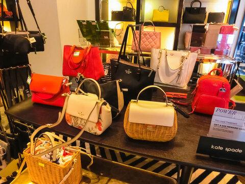 Miami, Usa - May 12, 2018: The female bags at Aventura mall, Miami luxury shopping store