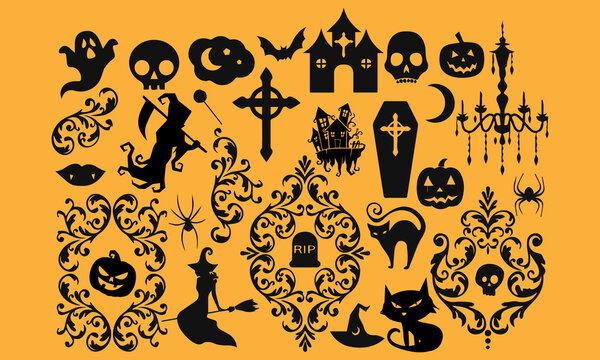 Vector set of silhouettes of Halloween holiday. 100% editable and color changeable.