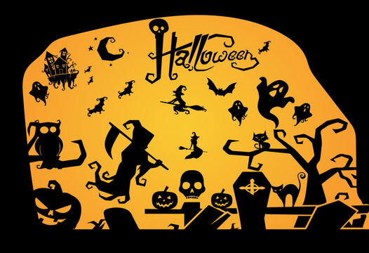 Design set of silhouettes of Halloween Vector. 100% editable and color changeable.