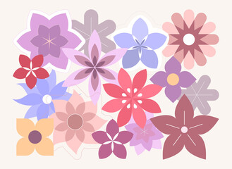Fotorolgordijn Abstractie Art Abstract colored vector illustration with many different flowers. Floral design background. In a vector file each flower is on separate layer.