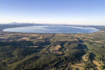 Aerial view of Lake Bolsena. A volcanic lake in Viterbo province